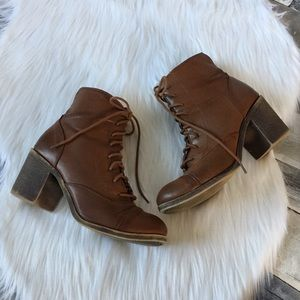 Rock & Candy brown heeled booties size 9